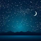 Озеро, горы, звёздное небо 10 eps Стоковая Фотография RF
