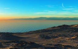 Озеро гор на вечере стоковое изображение rf