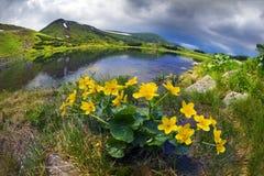 Озеро гор перед штормом Стоковые Изображения RF
