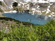 Озеро гор с травой и снегом стоковое фото rf