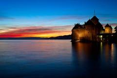 Озеро Женева Швейцария замок Chillon. Стоковые Изображения
