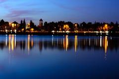Озеро заход солнца с отражением Стоковые Фотографии RF