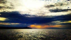 Озеро заход солнца Стоковая Фотография