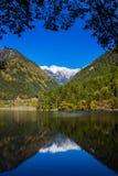 Озеро зеркал на Jiuzhaigou сценарном стоковые фотографии rf