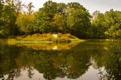 Озеро и парк сад в городе Дрездена стоковое фото rf