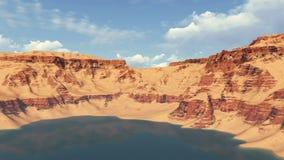 Озеро каньон среди красных утесов daytime бесплатная иллюстрация