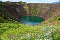 Озеро кратера Kerið вулканическое также вызвало Kerid или Kerith в южной Исландии Стоковое Изображение
