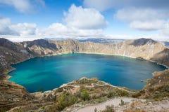 Озеро кратера Quilotoa, эквадор Стоковое фото RF