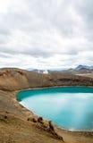 Озеро кратера Viti красивое цвета бирюзы расположенного в Исландии Стоковая Фотография RF