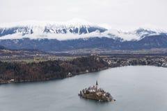 Озеро кровоточенное на Словении стоковое фото rf