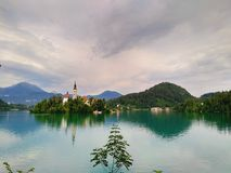 Озеро кровоточило Словению - кровоточенные остров и замок Стоковое Изображение RF