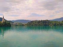 Озеро кровоточило Словению - кровоточенные остров и замок Стоковые Изображения RF