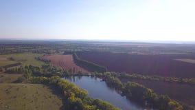 Озеро ландшафта осени окруженное полями сток-видео