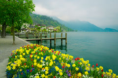 Озеро Люцерн, Швейцария Пристани Weggis деревянные Стоковая Фотография RF
