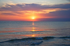 озеро Мичиган над заходом солнца стоковое фото rf