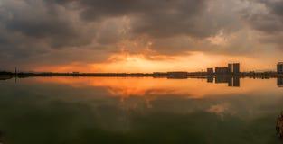 Озеро морской дамбы озера Jinhua Стоковые Изображения RF