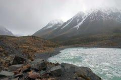 Valley Ice Lake on a rain day, New Zealand Стоковое Изображение