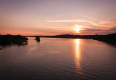 Озеро на заходе солнца Стоковое фото RF