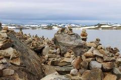 Озеро на плато гор Hardanger, в Норвегии, Европа Стоковые Изображения RF