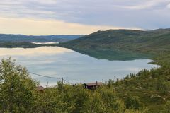 Озеро на плато гор Hardanger, Норвегия, Европа Стоковые Изображения