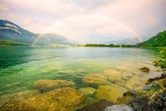 озеро над радугой Стоковые Изображения