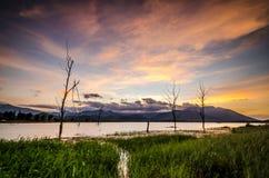 Озеро на свете вечера Стоковое Фото