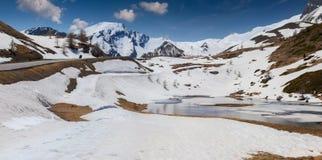 Озеро на Col De Vars пропуска, Альпах, Франции стоковая фотография rf