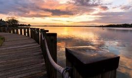 Озеро Норман, заход солнца 2 Северной Каролины Стоковая Фотография RF