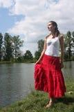 озеро около женщины Стоковое Изображение RF