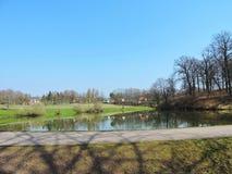Озеро, дома и красивые деревья стоковая фотография rf
