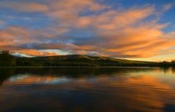 Озеро ольшаник на заходе солнца Стоковое Изображение RF