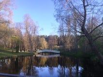 Озеро парк с белым мостом Стоковые Фотографии RF