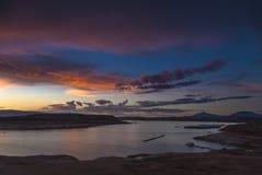 Озеро Пауэлл на ландшафте Юты захода солнца Стоковые Изображения RF