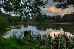 Озеро после захода солнца Стоковое Изображение