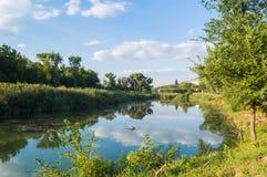 Озеро после полудня приспособлено совершенно с отражением стоковые фото