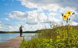 озеро рыболова Стоковые Фотографии RF