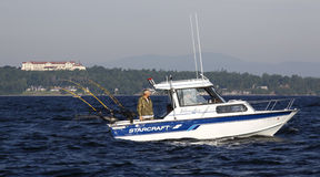 озеро рыболовства коллежа Клинтона champlain с спорта стоковая фотография rf
