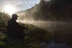 озеро рыболова вечера свободного полета Стоковые Фото
