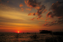 Озеро сок Tonle захода солнца Стоковая Фотография