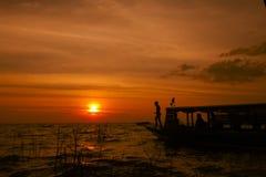 Озеро сок Tonle захода солнца Стоковое фото RF
