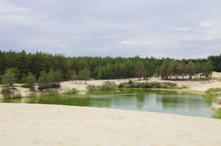 Озеро с песчаными пляжами Стоковые Фото