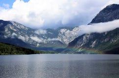 Озеро с радугой над Bohinj Стоковое Изображение RF