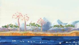 Озеро с тропическими деревьями на береге иллюстрация штока
