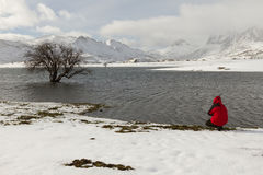 Озеро с человеком снега Стоковые Фотографии RF