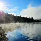 озеро туманное стоковое фото