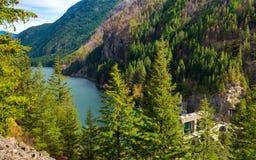 Озеро ущелье панорамное стоковое фото rf