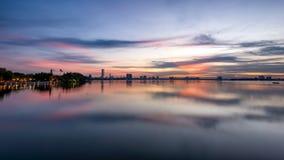 Озеро Ханой заход солнца западное Стоковое фото RF