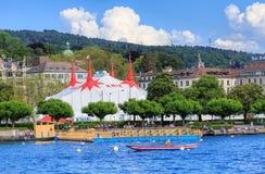 Озеро Цюрих с шатром цирка Knie на заднем плане Стоковые Изображения