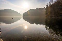 Озеро Alpsee на туманный день при солнце приходя через близко Стоковые Фото