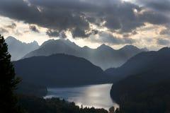 Озеро Alpsee, Hohenschwangau, Германия Стоковое Изображение RF
